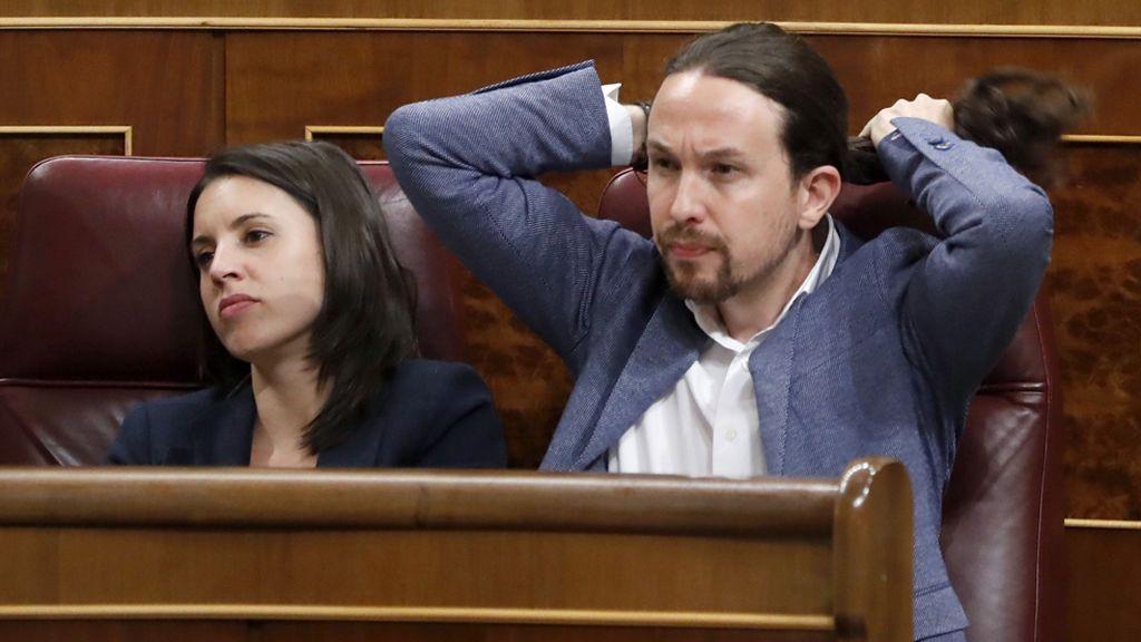 Pablo Iglesias reacciona a las intervenciones en la moción de censura