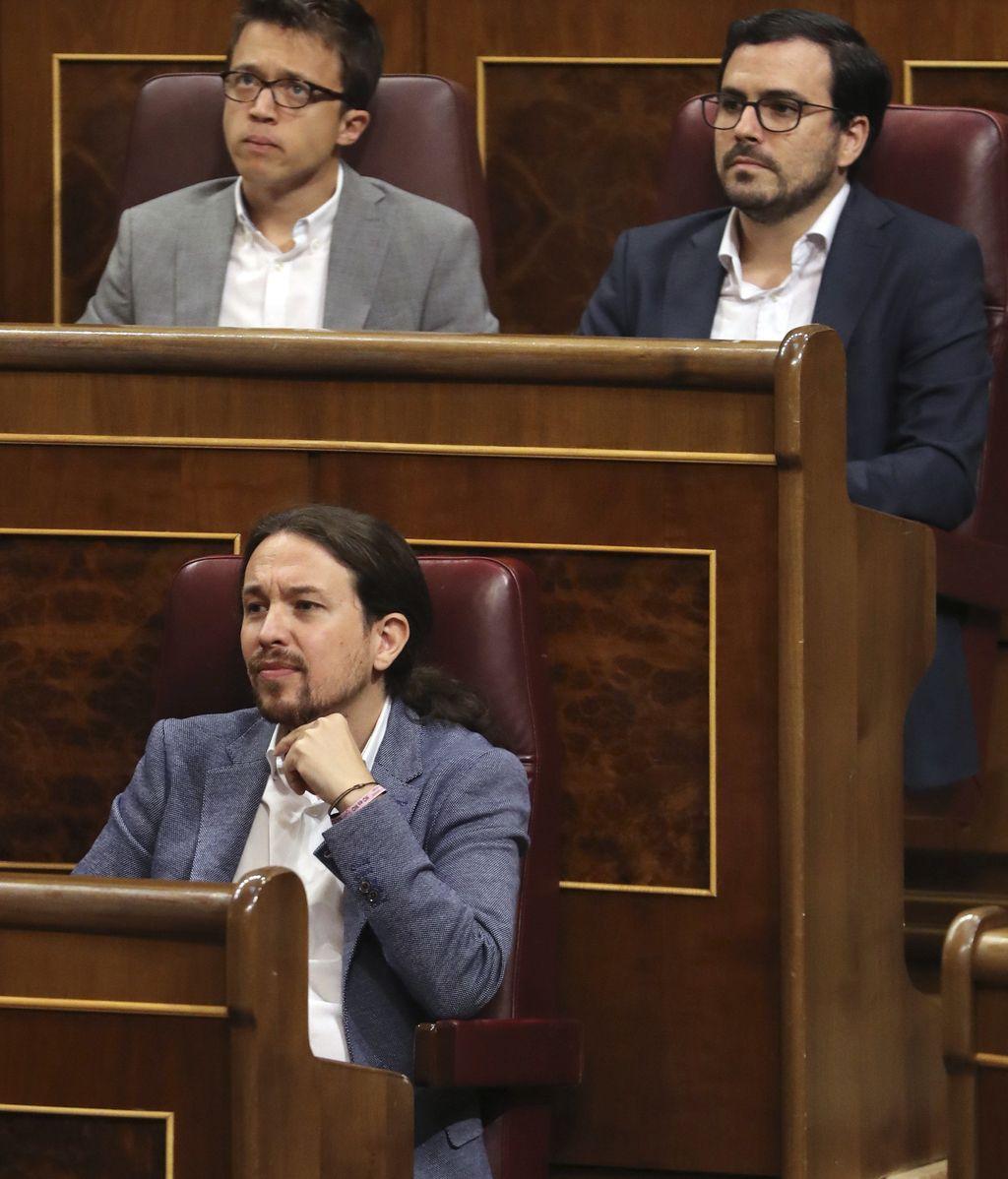Iglesias, Errejón y Garzón, pendientes de la intervención de Montero