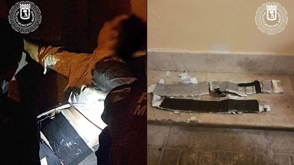 Causa el pánico en Madrid al llevar un cinturón de paquetes de 6.000 euros adosado al cuerpo