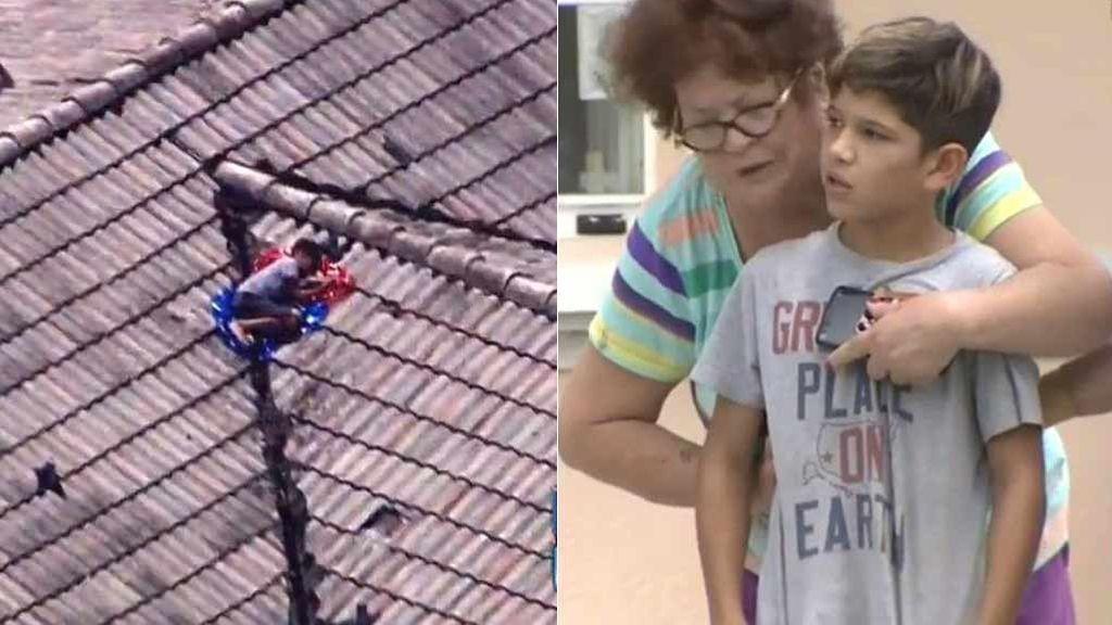 La frenética búsqueda de un niño desaparecido acaba... ¡en el tejado de su casa!
