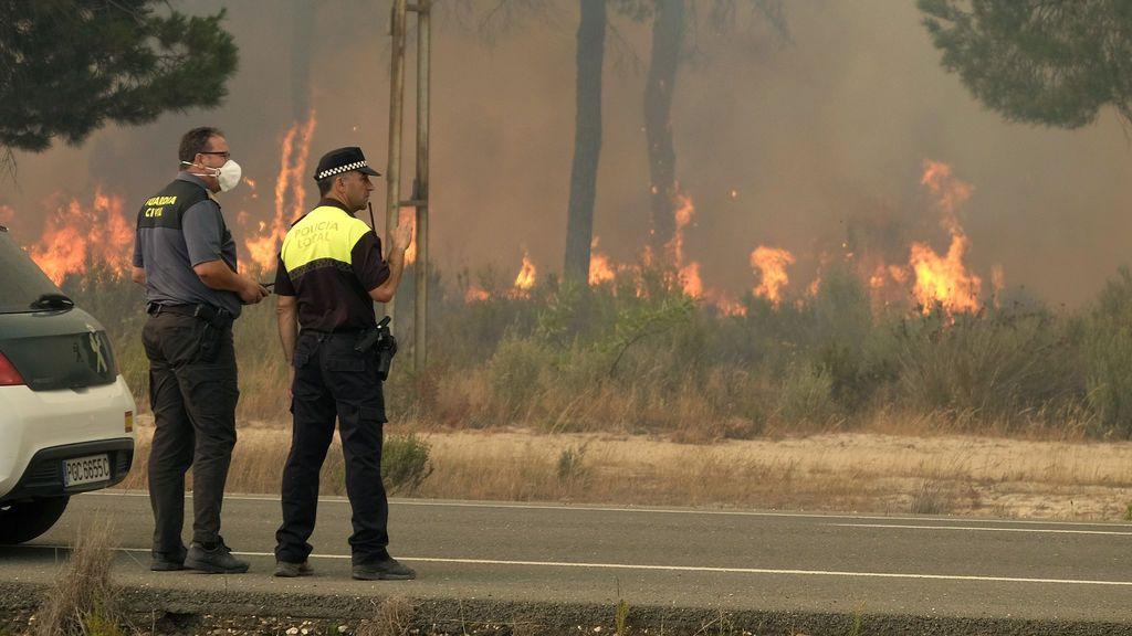 El incendio de Moguer se extiende en todas direcciones por las ráfagas de viento