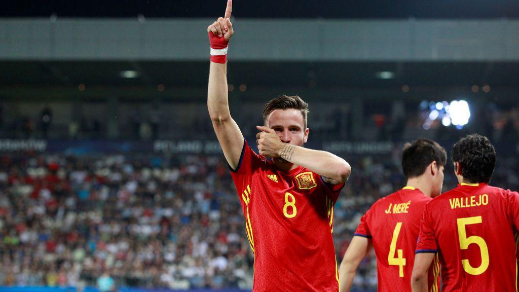 ¡Gol de España! Saúl hace el tercero y consigue su hat-trick particular