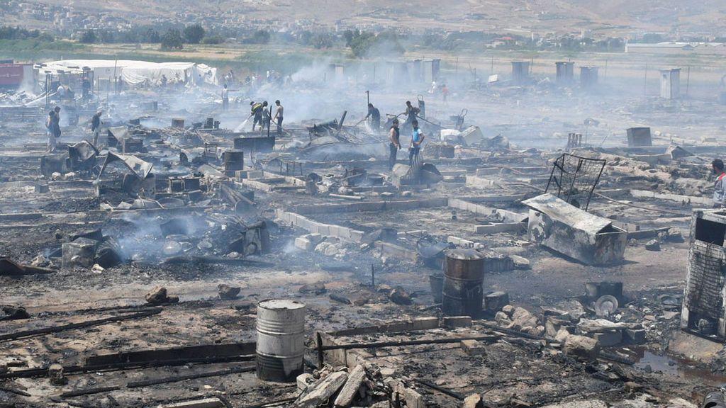 Incendio de un campo de refugiados en Líbano
