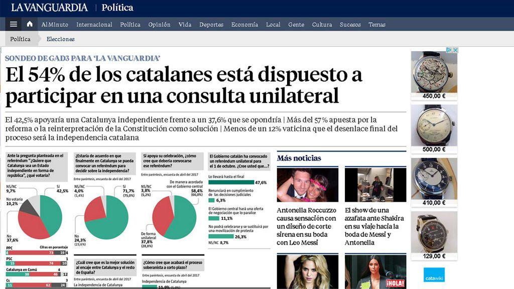Sondeo sobre el referéndum catalán en La Vanguardia