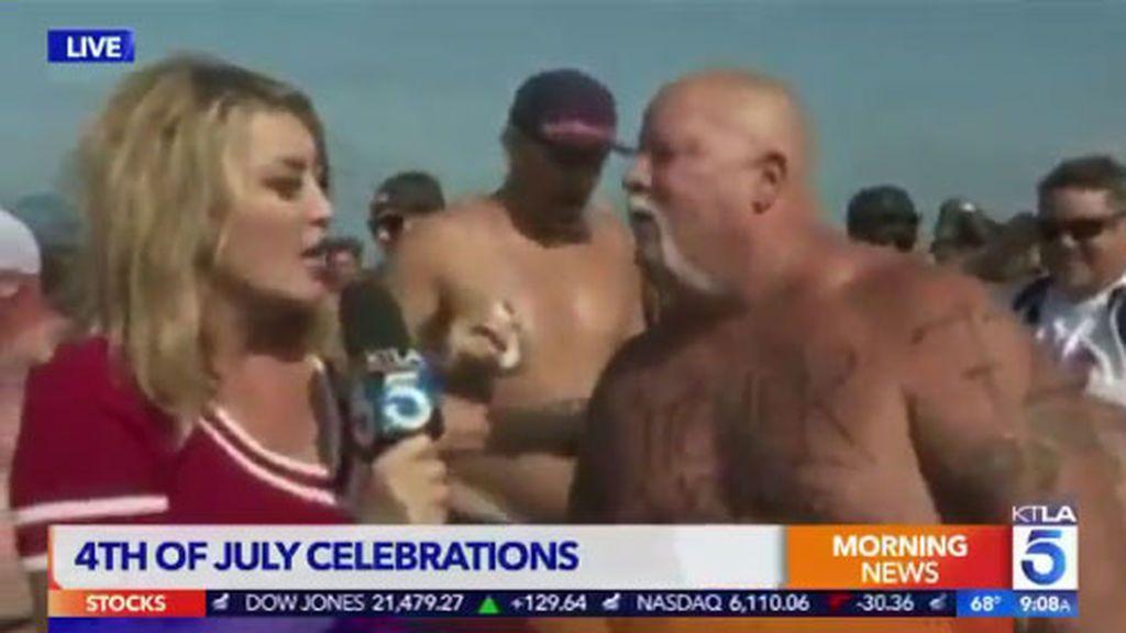 El momento más embarazoso de esta reportera: le vomitan en directo en plena entrevista