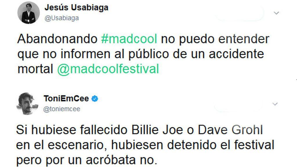 Las redes sociales critican a la organización del Mad Cool tras el accidente