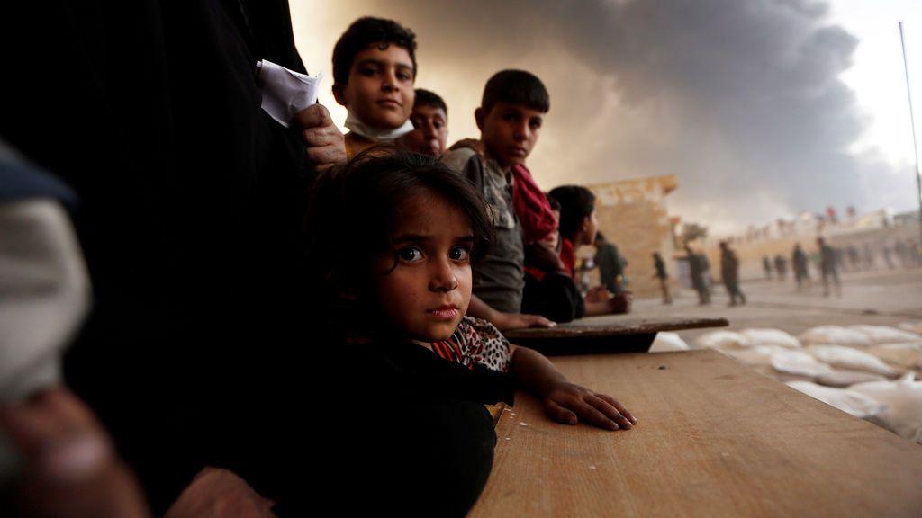 Desplazados en Qayyara, al sur de Mosul, Irak