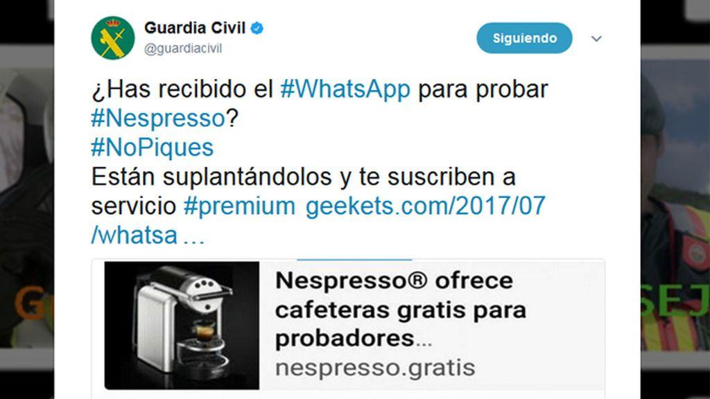 La Guardia Civil alerta del timo de Nespresso por WhatsApp