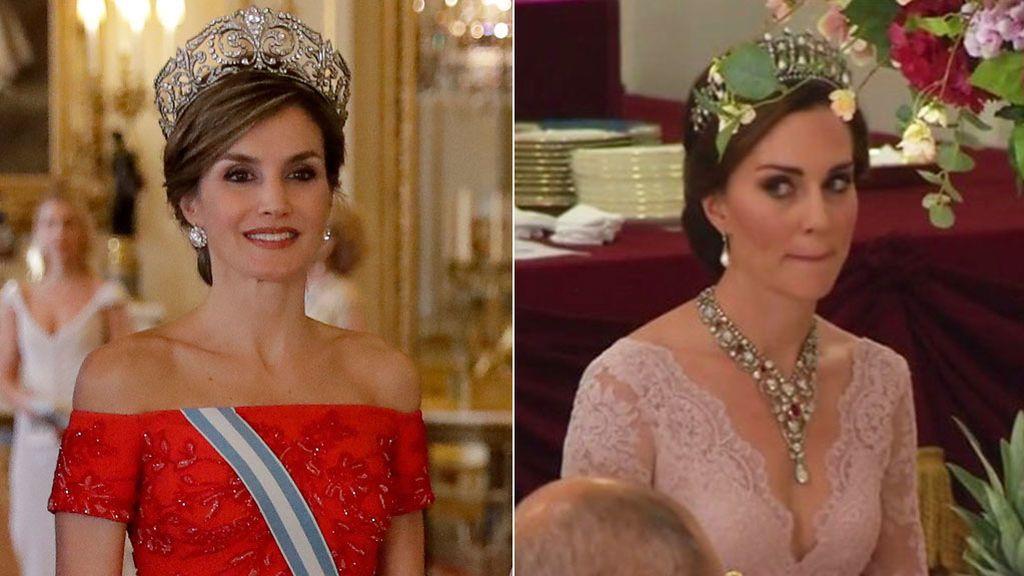 Recogido y tiara: Letizia Ortiz y Kate Middleton, duelo estilístico compartiendo plano sin querer