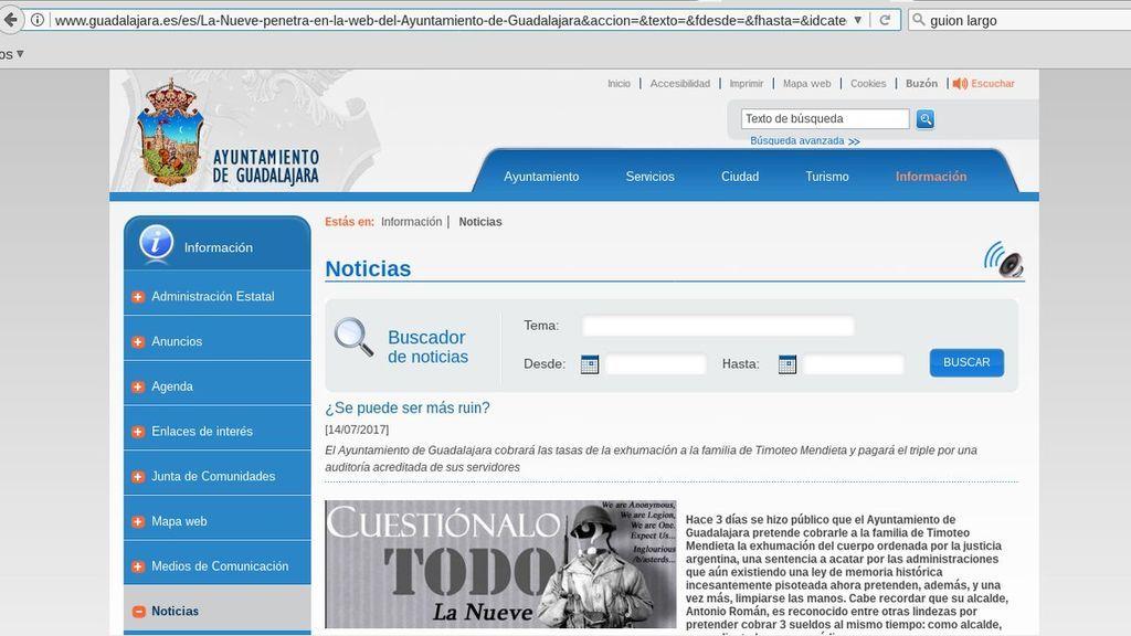 Anonymous hackea la web de Ayuntamiento Guadalajara