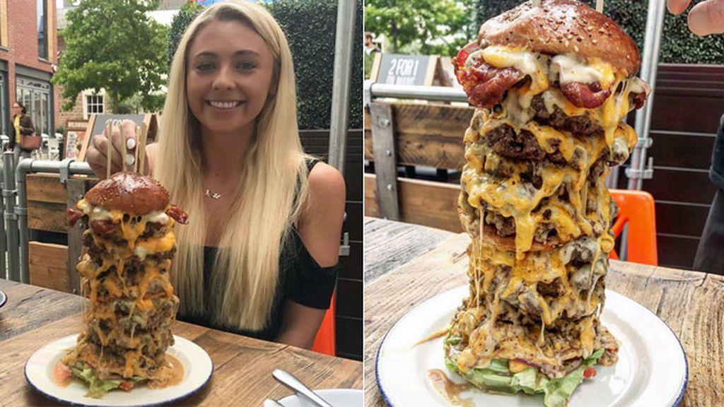 De bloguera fitness, a batir un record de comida: ¿Podrá comer una hamburguesa de 4.500 calorías en 2 minutos?