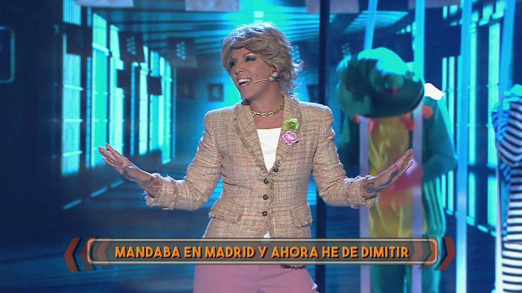 """Rebeca y su actuación parodia de Esperanza Aguirre: """"Yo te enseñé a llevártelo bien, por tu ambición ya no soy portavoz"""""""