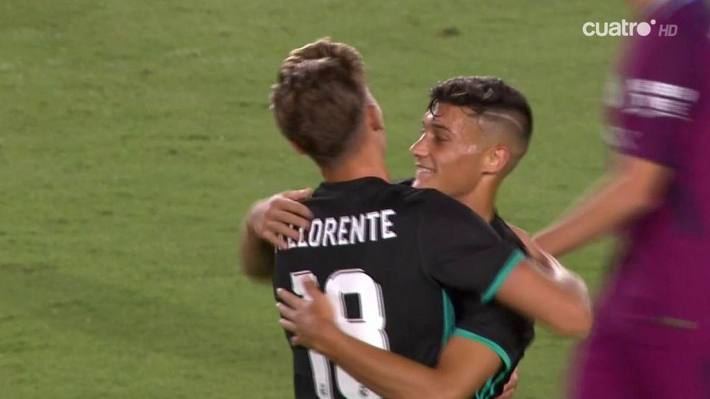 Zapatazo de locos para que el canterano Óscar haga el gol de la honra del Real Madrid