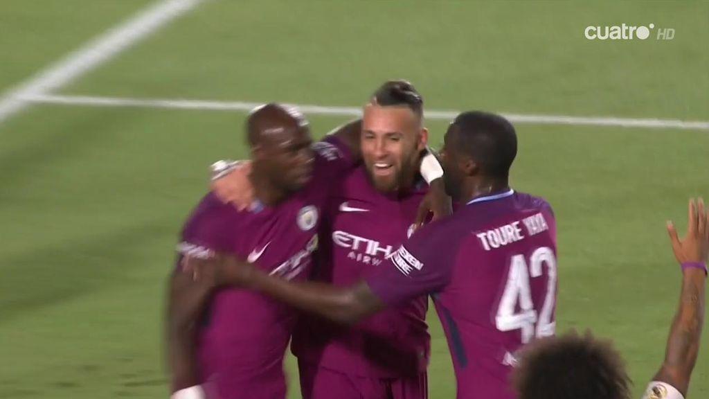 ¡Muy listo! Otamendi golpea primero y adelanta al Manchester City (1-0)