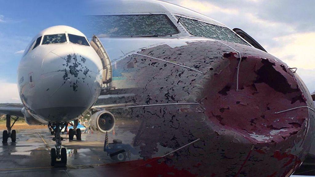 La apocalíptica tormenta de granizo revienta el morro de los aviones de Estambul