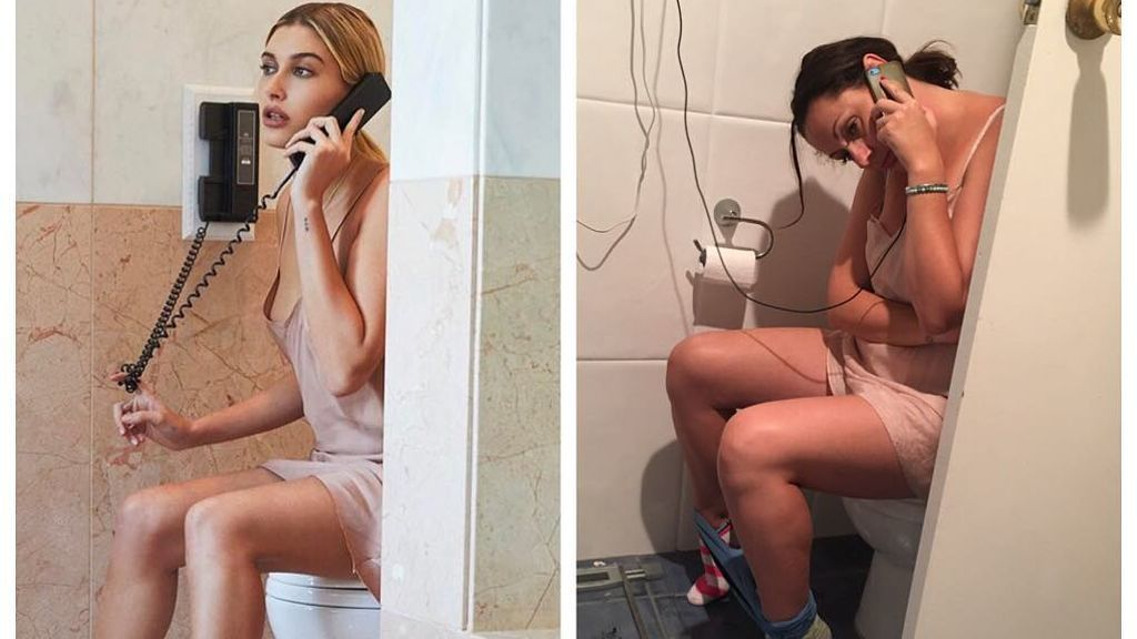 Barber imitando en el baño a Hailey Baldwin