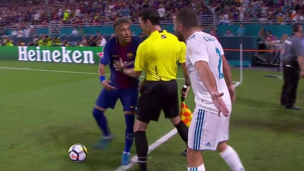 ¿Amistoso? Neymar y Carvajal se encaran tras un empujón del brasileño