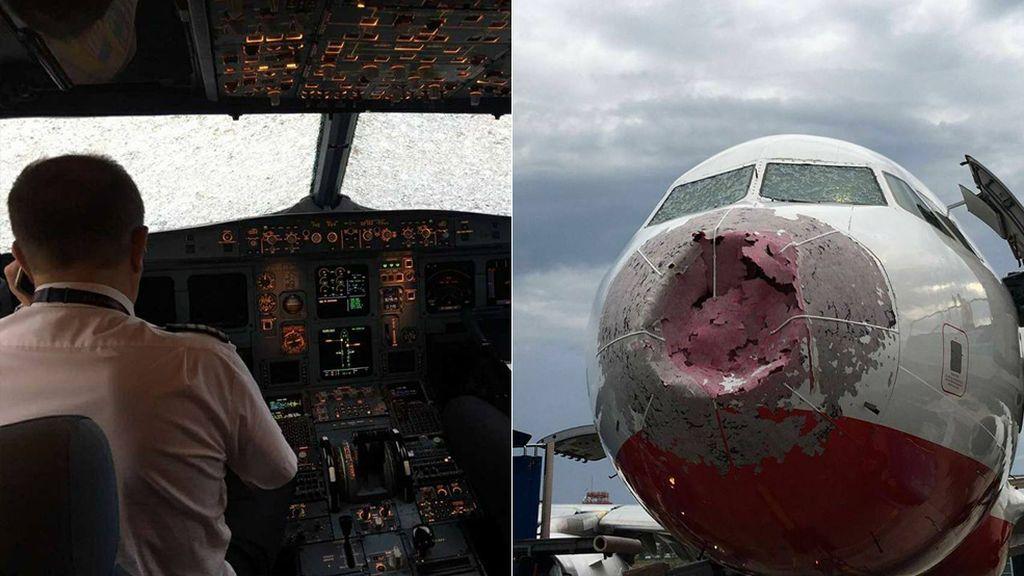 Pánico a bordo: Aterrizaje 'a ciegas' tras resquebrajase el parabrisas del avión