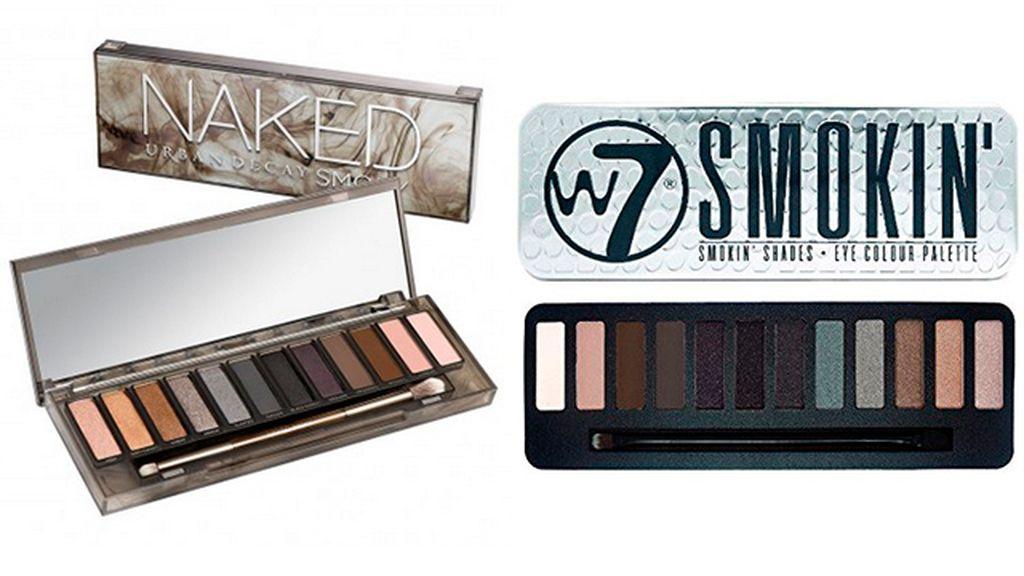 Paleta de sombras Naked Smoky de Urban Decay (51 euros) y Smokin de W7 (5,99 euros)
