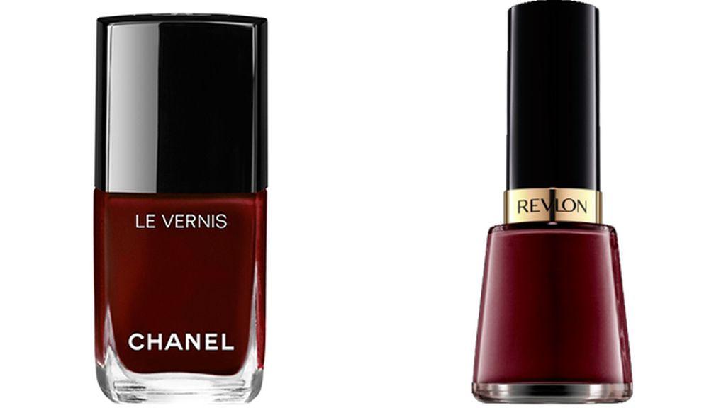 Laca de uñas Rouge Noir de Chanel (27 euros) y Vixen de Revlon (4 euros)