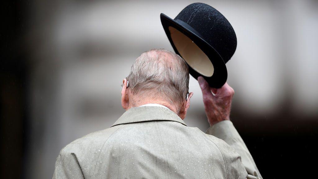 El príncipe Felipe en su última aparición pública en el Palacio de Buckingham, Reino Unido