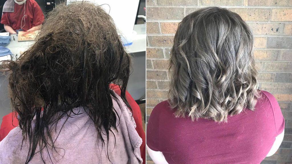 Una peluquera pasa dos días arreglando el pelo de una adolescente con depresión