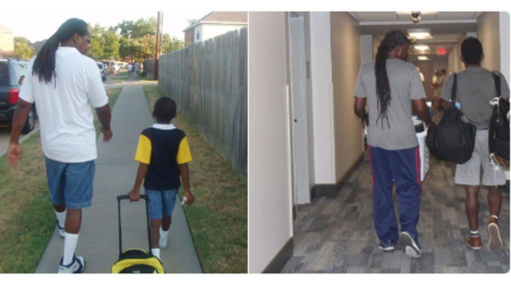 La tiernas fotos de un padre y su hijo en su primer día de guardería y de universidad que se han hecho virales