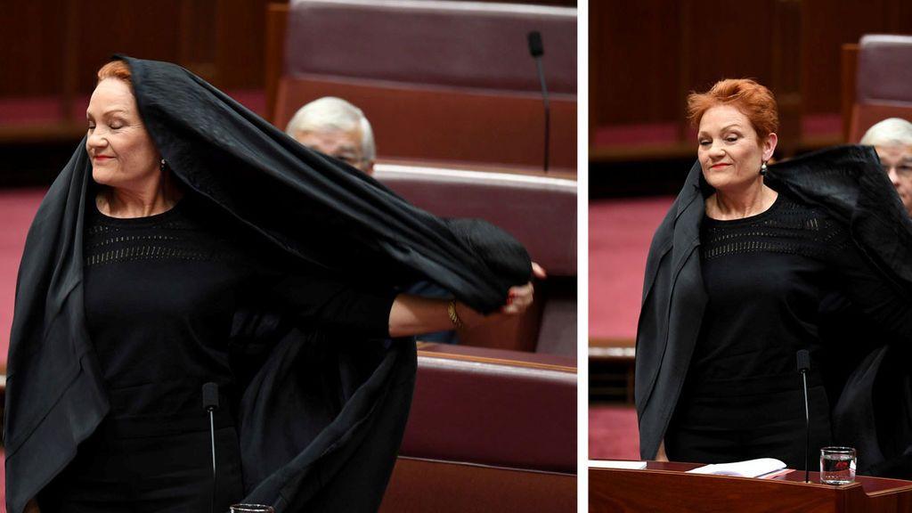 Una senadora australiana con niqab