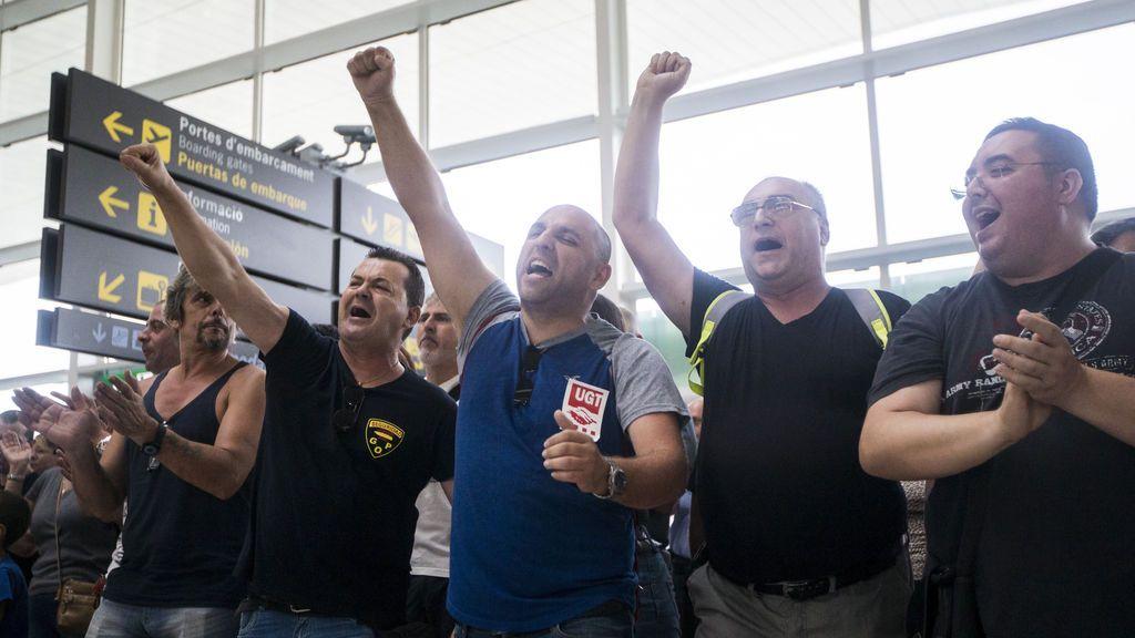 Trabajadores de Eulen protestan en El Prat
