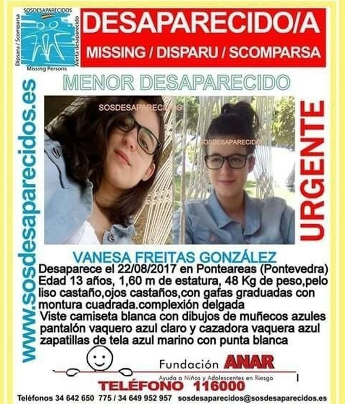 Buscan a una niña de 13 años desaparecida en Ponteareas (Pontevedra)