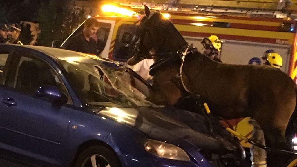 Tres heridos tras colisionar su vehículo contra un coche de caballos en Sevilla