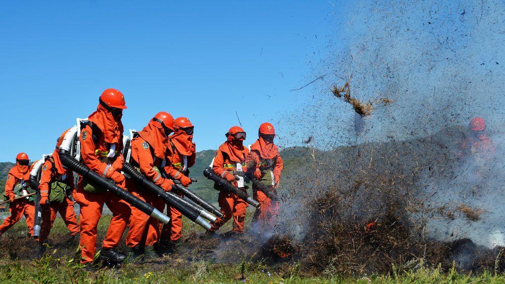 Miembros de la brigada de incendios forestales durante una sesión de entrenamiento en Tongalio