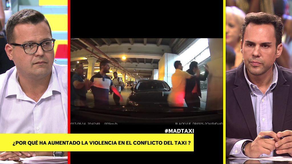 Las impactantes imágenes de una brutal paliza al presidente de la patronal de Cabify por el conflicto con los taxistas