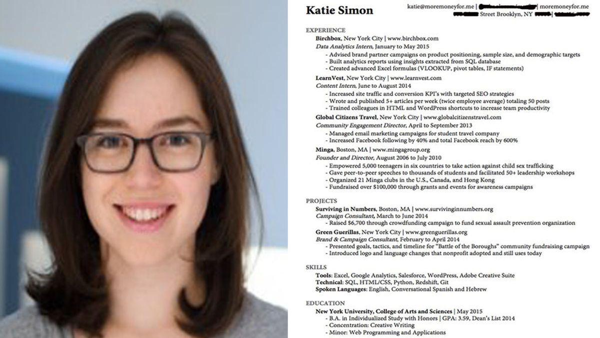 Katie Simon te enseña las claves para un currículum perfecto
