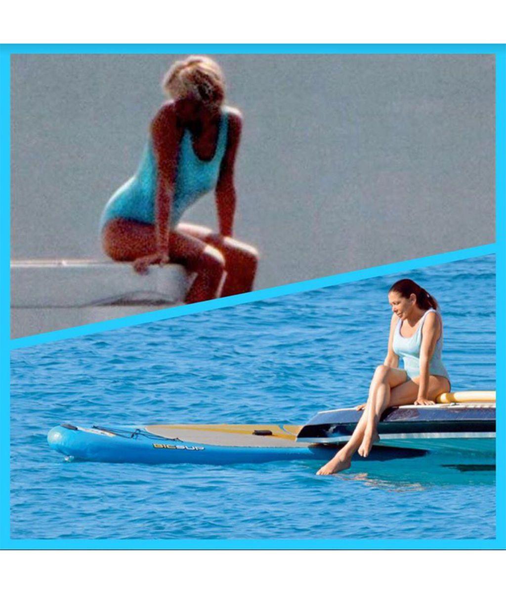Bañador azul, mirada meláncolica y sobre el mar: Isabel Pantoja y Lady Di, 20 años y dos posados
