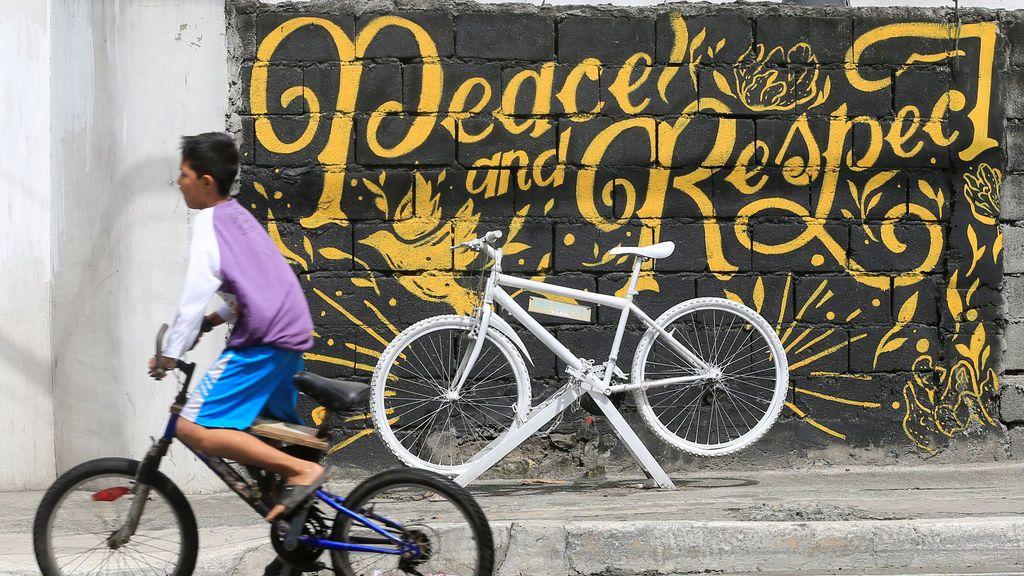 Memorial por la muerte de un ciclista en Filipinas