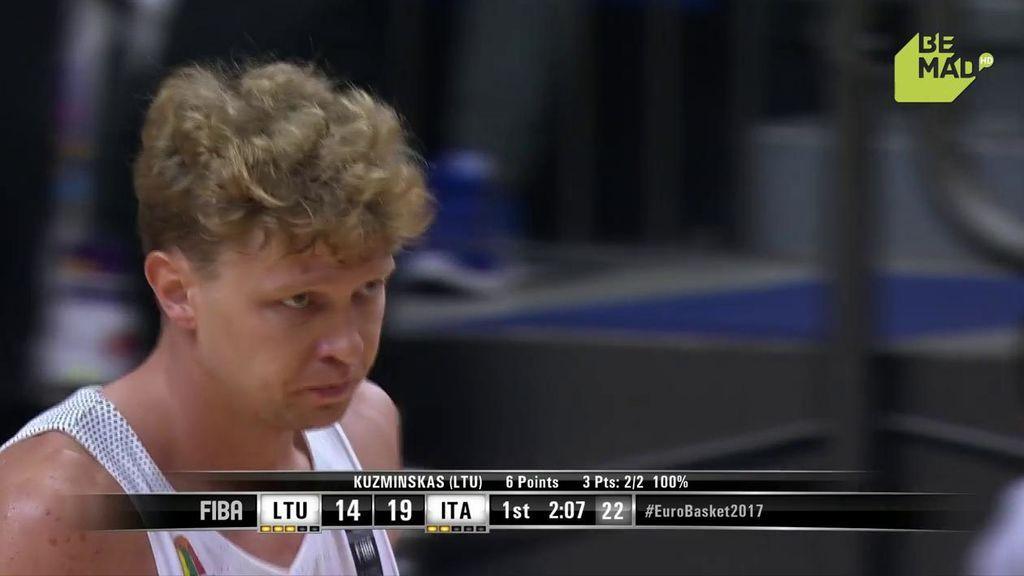 ¡Espectáculo Kuzminskas ya en el Eurobasket! Tres triples seguidos desde su casa