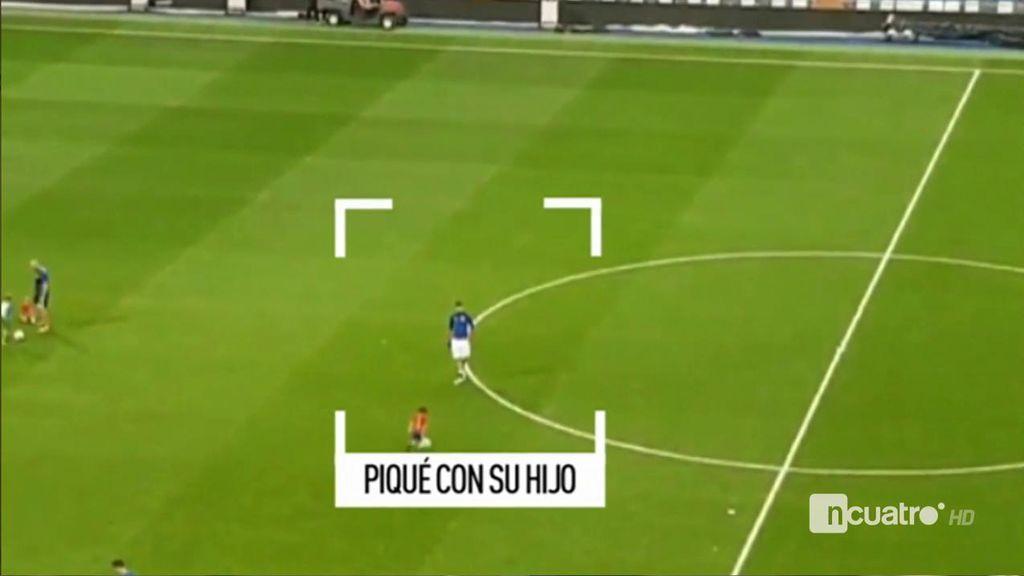 ¡Como en casa! Piqué se quedó jugando con su hijo tras el partido en el Bernabéu