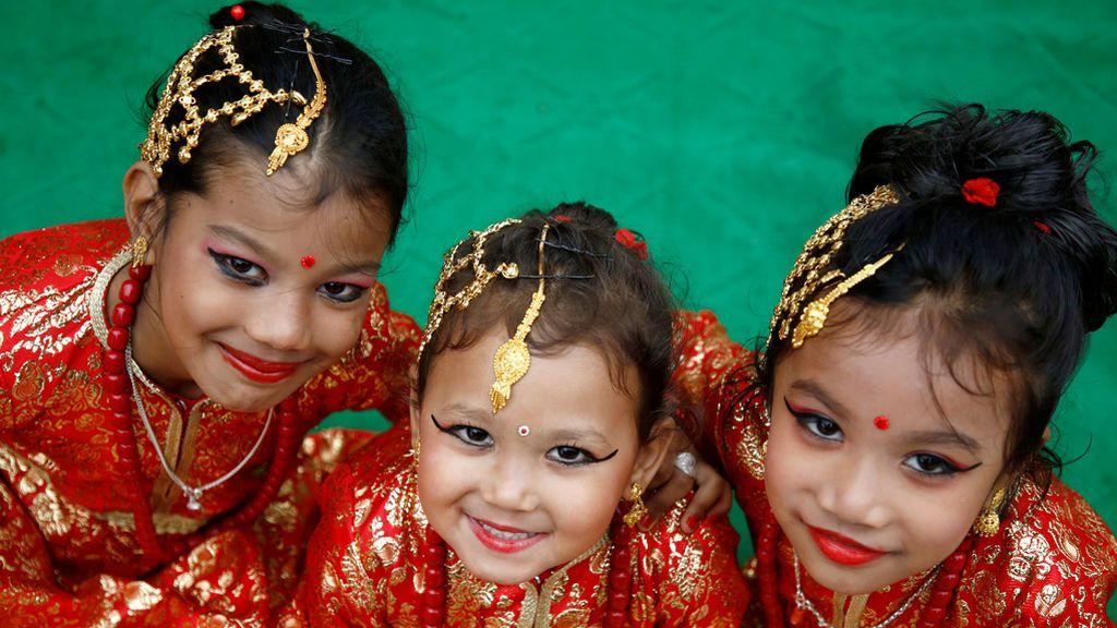 El festival 'Kumari Puja' da comienzo en Nepal