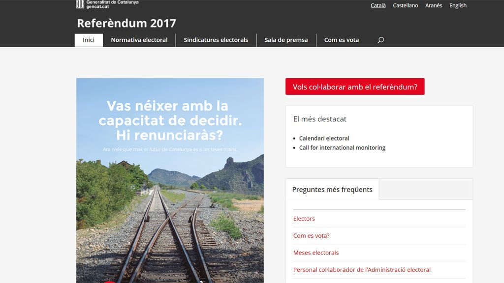 """La web del referéndum dice que es """"obligatorio"""" formar parte de las mesas electorales"""