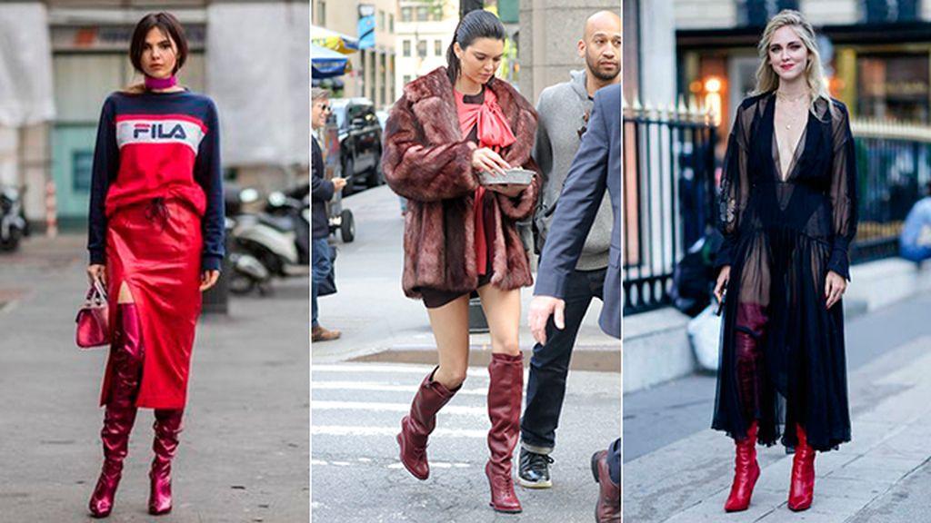 botas mosqueteras rojas