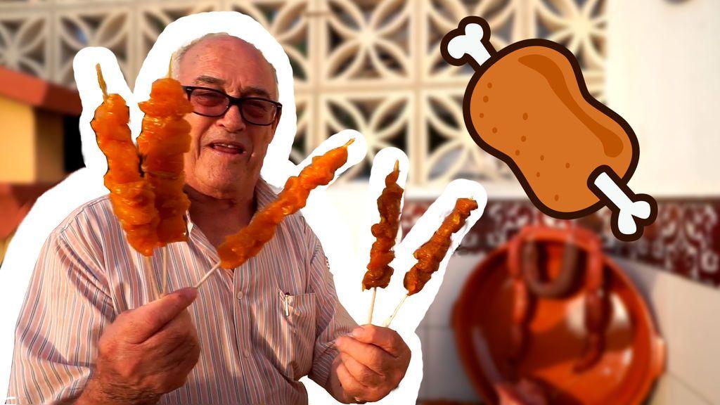 El abuelo echa toda la carne al asador