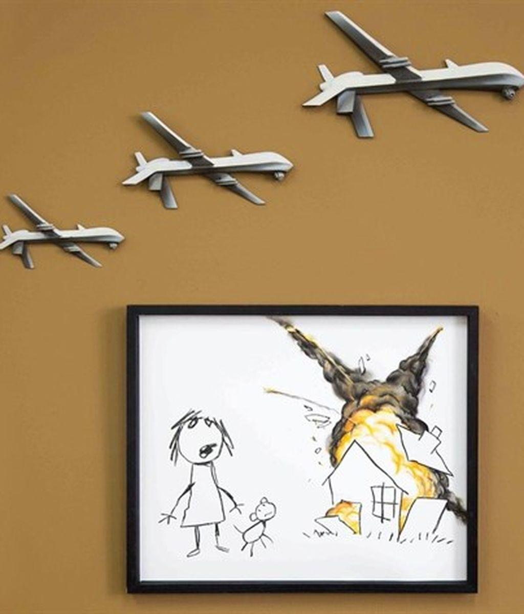 Lo último de Banksy: drones destruyendo el dibujo de una niña