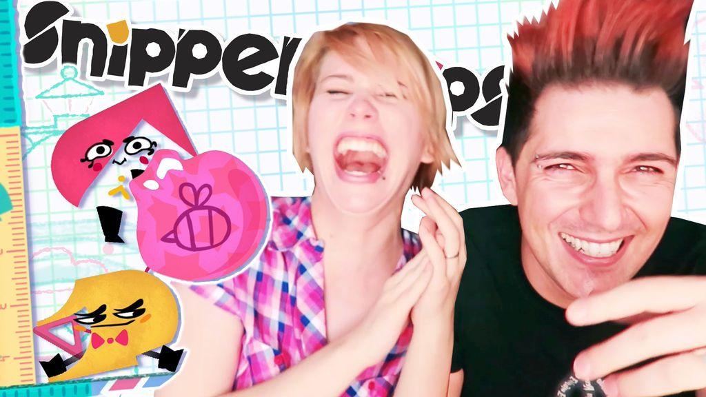 Luna y Deîak, explotando globos con Snipperclips