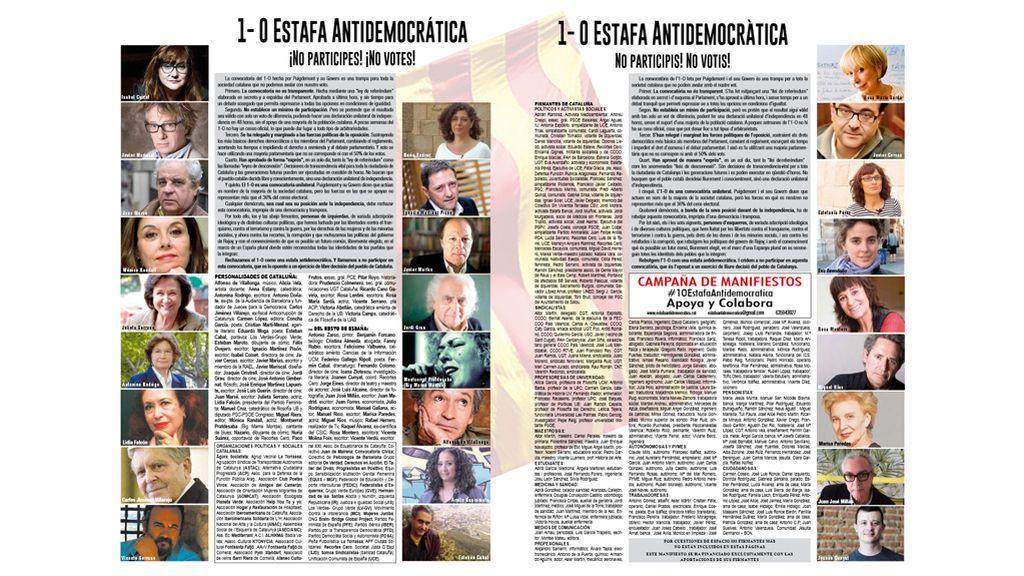 """Casi un millar de intelectuales llaman a no participar en la """"estafa antidemocrática"""" del referéndum"""
