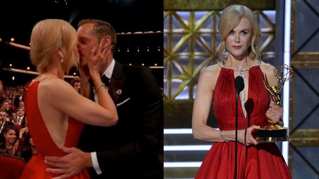 Beso con Alexander Skarsgard ante su marido y discurso contra el maltrato: la gran noche de Nicole Kidman