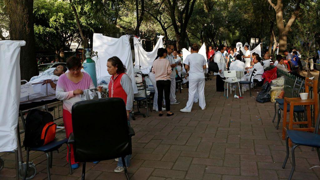 Hospital de campaña tras el terremoto en México