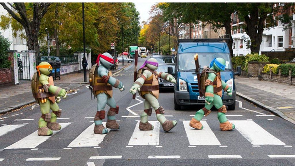 'Las tortugas ninja' emulan a The Beatles en Abbey Road