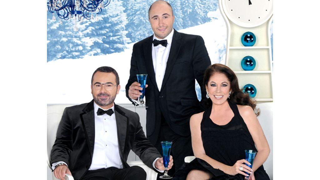 Jorge Javier Vázquez, Isabel Pantoja y Kiko Rivera. Campanadas 2011 en Telecinco (23.45)