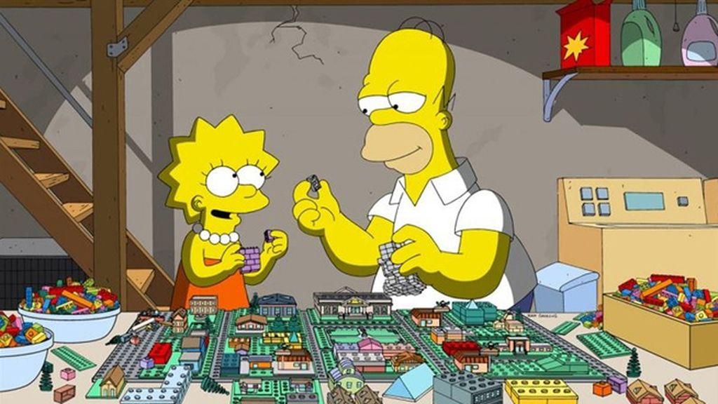 Homer busca cómo escapar del universo de ladrillos en el que se ha despertado